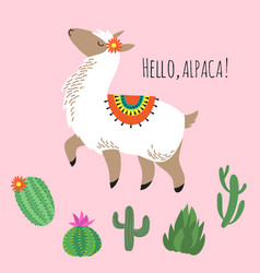 proud awesome lama and cactus - hello alpaca card vector image