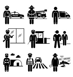 Public safety and security jobs occupations vector