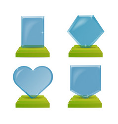 realistic blue and green glass trophy awards vector image vector image