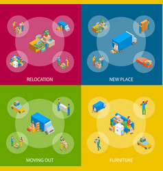 Relocation service 3d banner set isometric view vector