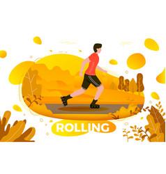 roller skating man in park vector image