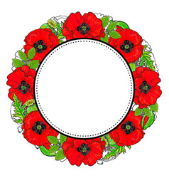 round frame of red poppy flowers and green leaves vector image