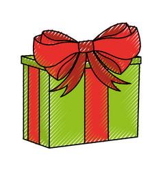 scribble christmas gift cartoon vector image