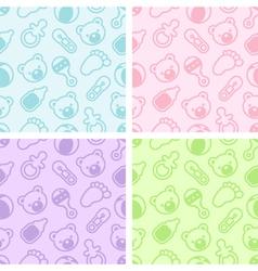 Seamless bashower patterns vector