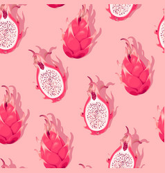 seamless pattern with high detail dragon fruit vector image