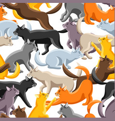 seamless pattern with stylized cats in various vector image