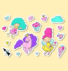 set of cute stickers with hearts love flower and vector image