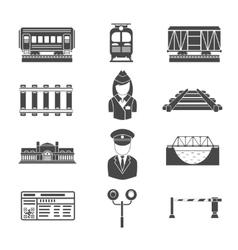 Set of railway black icons vector image