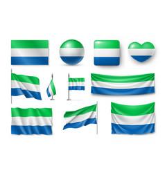 set sierra leone flags banners symbols flat vector image