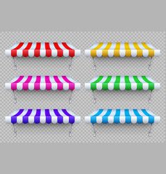 Shop awning tents outdoor market canopy vector