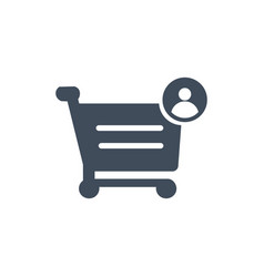 shopping cart with user or account sign icon flat vector image