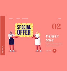 special offer sale landing page template man and vector image