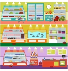 Supermarket interior in flat vector