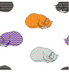 sweet coloured kitten seamless pattern vector image