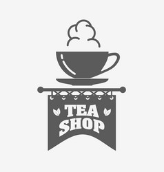 tea shop logo badge or label design template with vector image