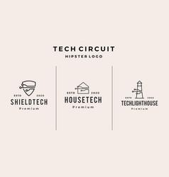 tech shield house lighthouse logo icon hipster vector image