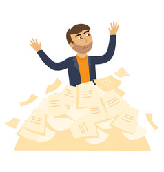 Tired businessman overwork paper heap vector