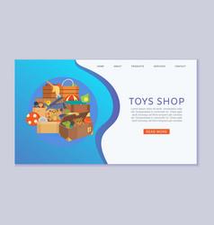 Toy shop for children and kindergarten website vector