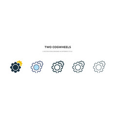Two cogwheels icon in different style two vector