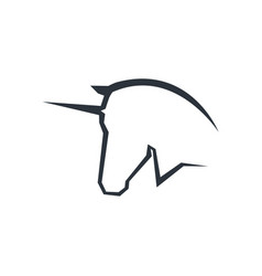 unicorn head logo symbol vector image