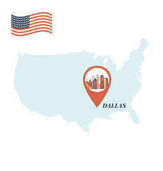 Usa map with dallas pin travel concept vector