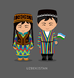 Uzbeks in national dress with a flag vector