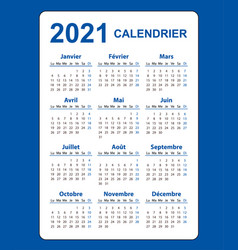 Vertical color pocket calendar on 2021 year vector