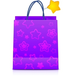 Violet gift paper bag with stars pattern vector image vector image