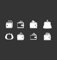 wallet icon set grey vector image