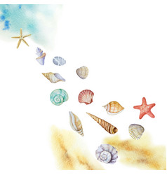 Watercolor multicolored seashells and beach vector