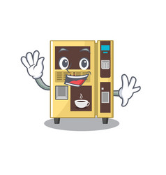 waving coffee vending machine with cartoon shape vector image