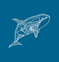 White hand drawn patterned orca vector