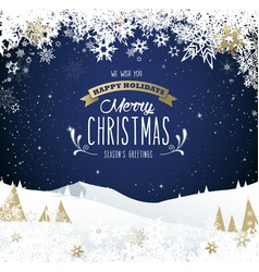 winter mountain landscape scenery merry christmas vector image