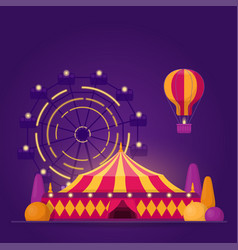 with amusement park on purple vector image
