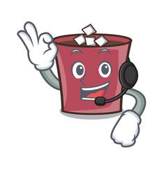 With headphone hot chocolate mascot cartoon vector