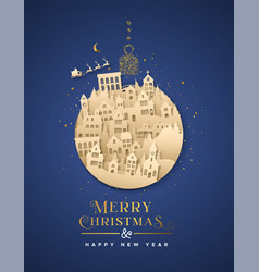 year paper cut ornament city house vector image