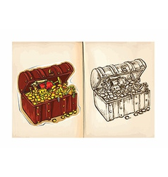 Childrens coloring book - Treasure vector image