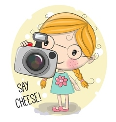 Cute cartoon Girl with a camera vector image