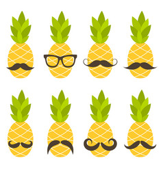 cute pineapples with sunglasses isolated on white vector image vector image