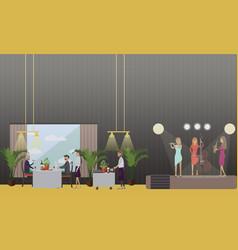 musicians in restaurant in vector image