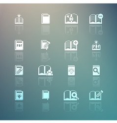 Set of books icons on Retina background vector image