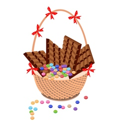 Brown Basket of Milk Chocolate and Chocolates Bar vector image vector image