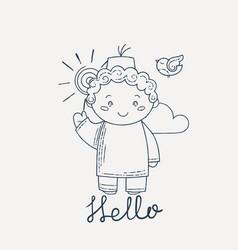 cute and happy boy say hello vector image