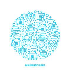 insurance service outline icons set vector image