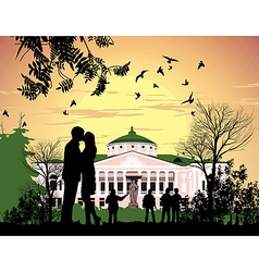Tourists walk in the park Ostankino Estate vector image vector image