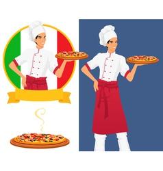 Italian tasty pizza and man chef vector image