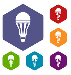 led bulb icons set vector image
