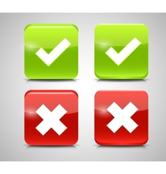 Red and Green Check Mark Icons vector image vector image