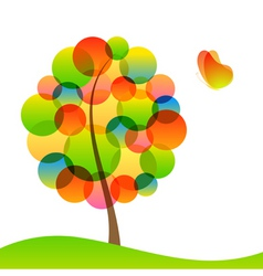tree and butterfly vector image vector image