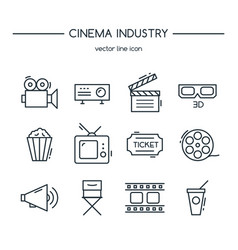 tv industry icons line set vector image vector image